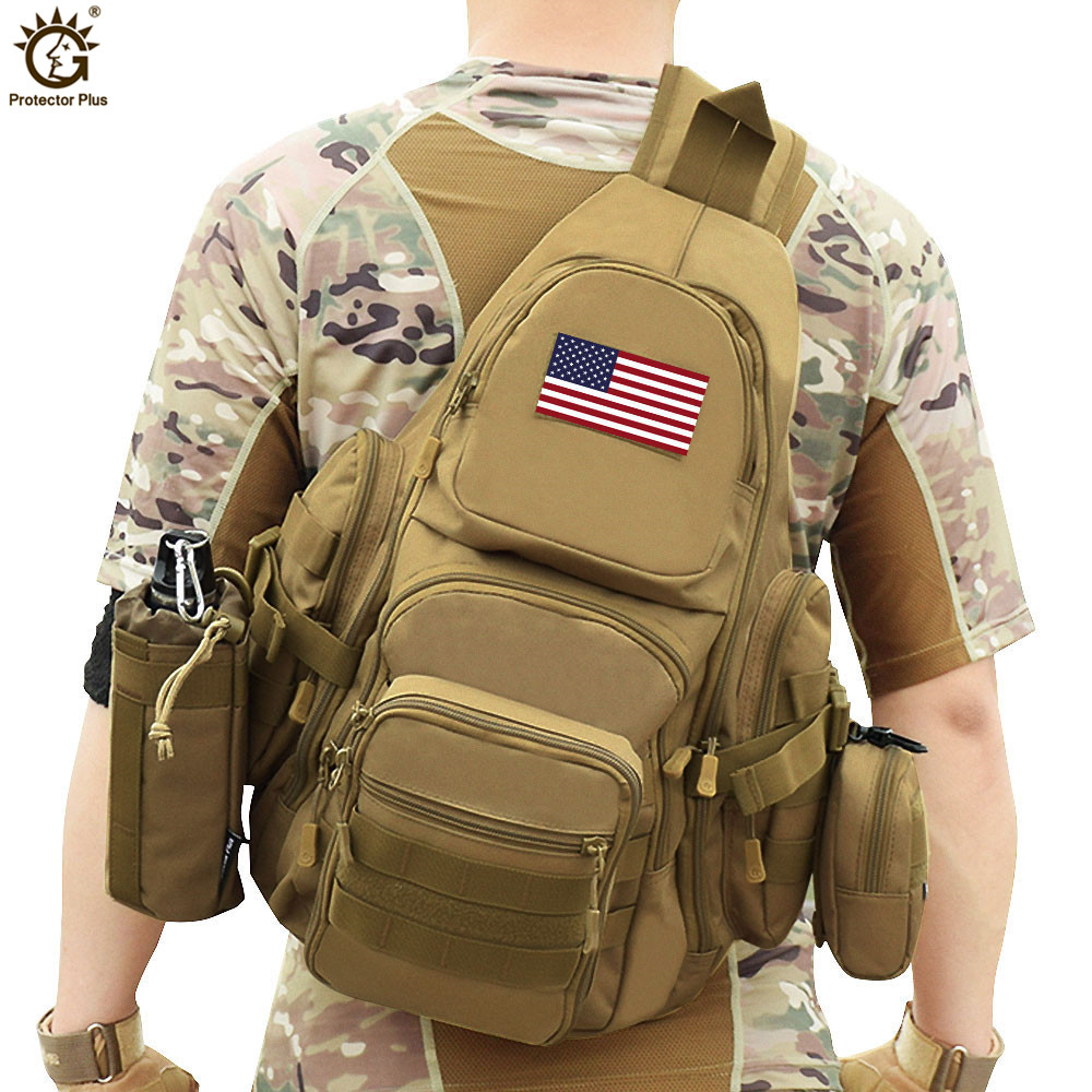 Men Military Back Pack 14 Inch Laptop Backpack 800D Nylon Waterproof Chest Pack Crossbody Camouflage Militar