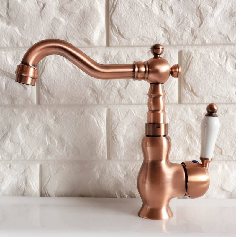 Swivel Spout Water Tap Antique Red Copper Single Handle Single Hole Kitchen Sink & Bathroom Faucet Basin Mixer Tap anf405Swivel Spout Water Tap Antique Red Copper Single Handle Single Hole Kitchen Sink & Bathroom Faucet Basin Mixer Tap anf405