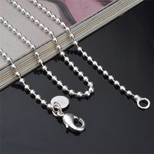 "1pc Classic Silver Plated 2.4MM Round Ball Beads Chain Necklace Connector Men Women Necklace 16""-24"" Wholesale(China)"
