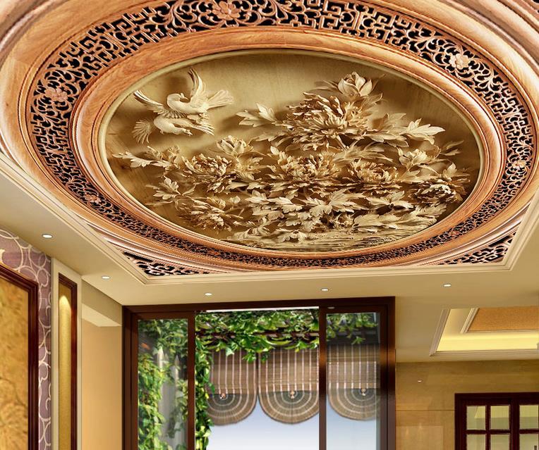 Custom 3d Ceiling Wallpaper Carved Wood Carving Wallpaper For Walls 3 D Ceiling Murals Wallpapers For Living Room