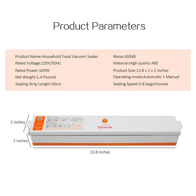 TintonLife 220V 110V Household Food Vacuum Sealer Packaging Machine Film Sealer Vacuum Packer Including 15Pcs Bags