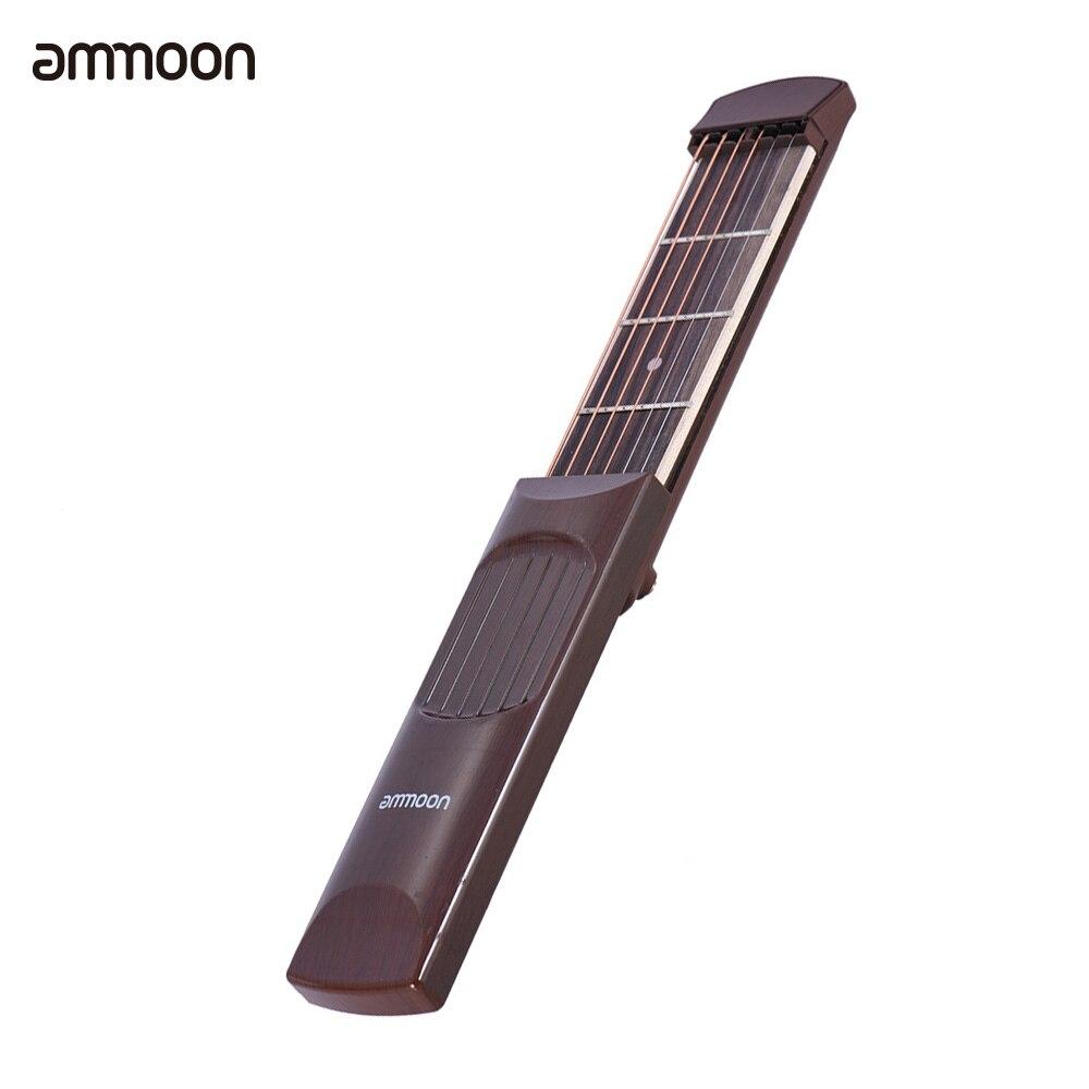 ammoon Portable Pocket Acoustic Guitar Practice Tool Gadget Chord Trainer 6 String 4 Fret Model Rosewood Fretboard Wood Grain gadget