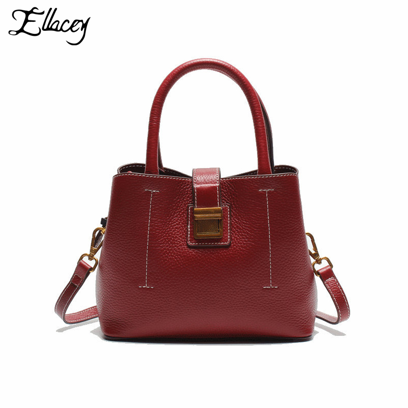 New 2017 Brief Fashion Cow Leather Shoulder Bag Genuine Leather Handbags Women Small Crossbody Bags Office Lady Saffiano Bag genuine leather studded satchel bag women s 2016 saffiano cute small metal rivet trapeze shoulder crossbody bag handbag