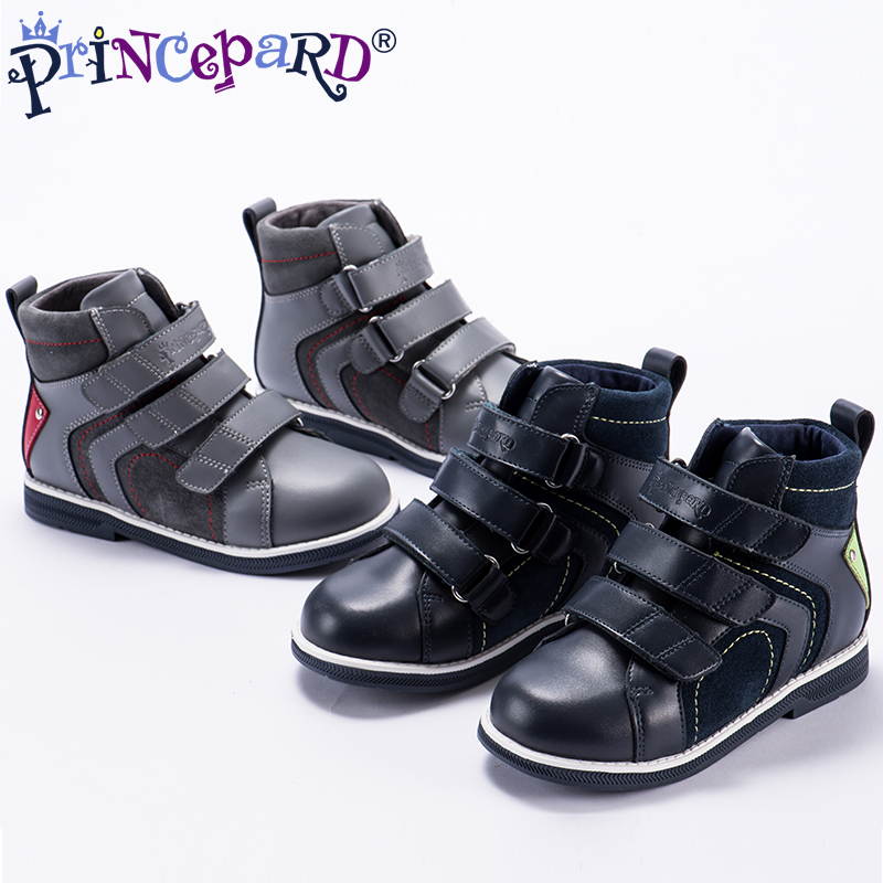 Princepard autumn genuine leather orthopedic shoes for boys velvet lining navy casual orthopedic boots girls boys 28-37 size