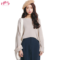 2017 Japanese Sweet Wide sleeved Sweater Mori Girls O Neck Casual Solid knit Sweater Autumn and winter Thin Wild Pink Sweaters