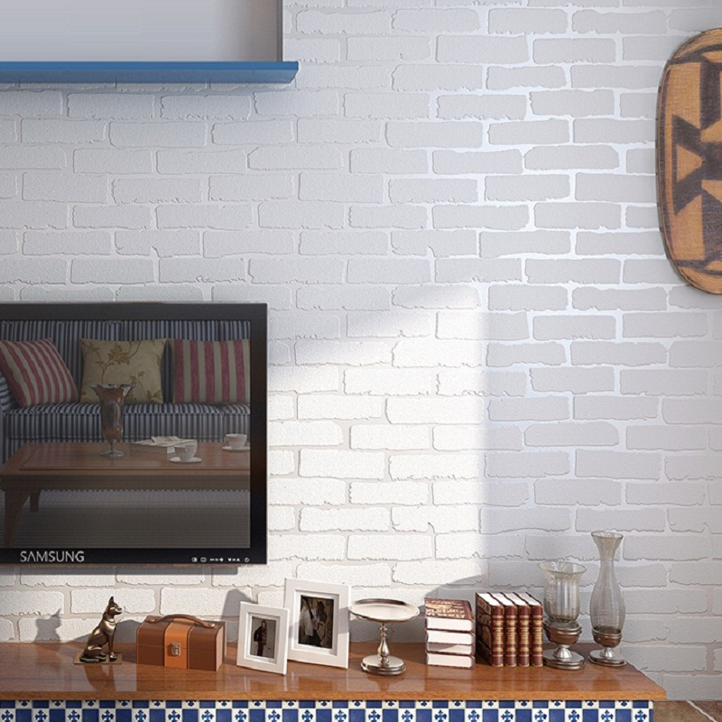 Vintage embossed brick wallpaper roll modern white blue 3d for Wall coverings for living room