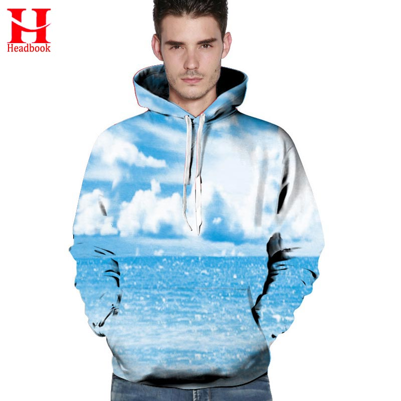 2017 Headbook Spring Winter Hoodies Men Women Sweatshirts Digital Print Blue Sky Clouds Sea Hooded Hoody Unisex Pullovers