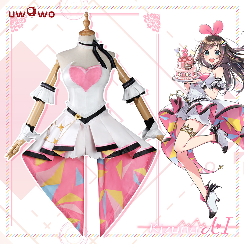 UWOWO Kizuna AI Cosplay Costume AI Channel Youtube Women Cute Pink Dress Christmas Carnival Costume