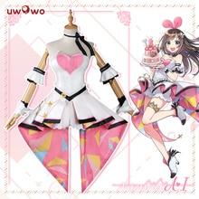 Uwowo kizuna ai cosplay traje ai canal youtube feminino bonito rosa vestido de natal carnaval traje