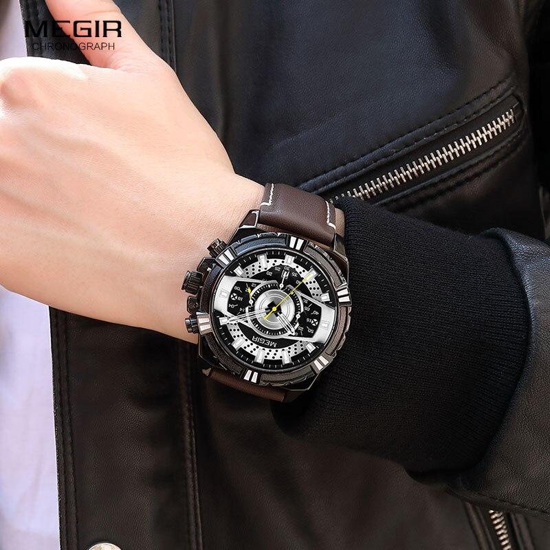 Image 5 - MEGIR hommes chronographe Sport Quartz montres bracelet en cuir haut marque de luxe armée montre bracelet Relogios Masculino horloge 2118 noirMontres à quartz   -