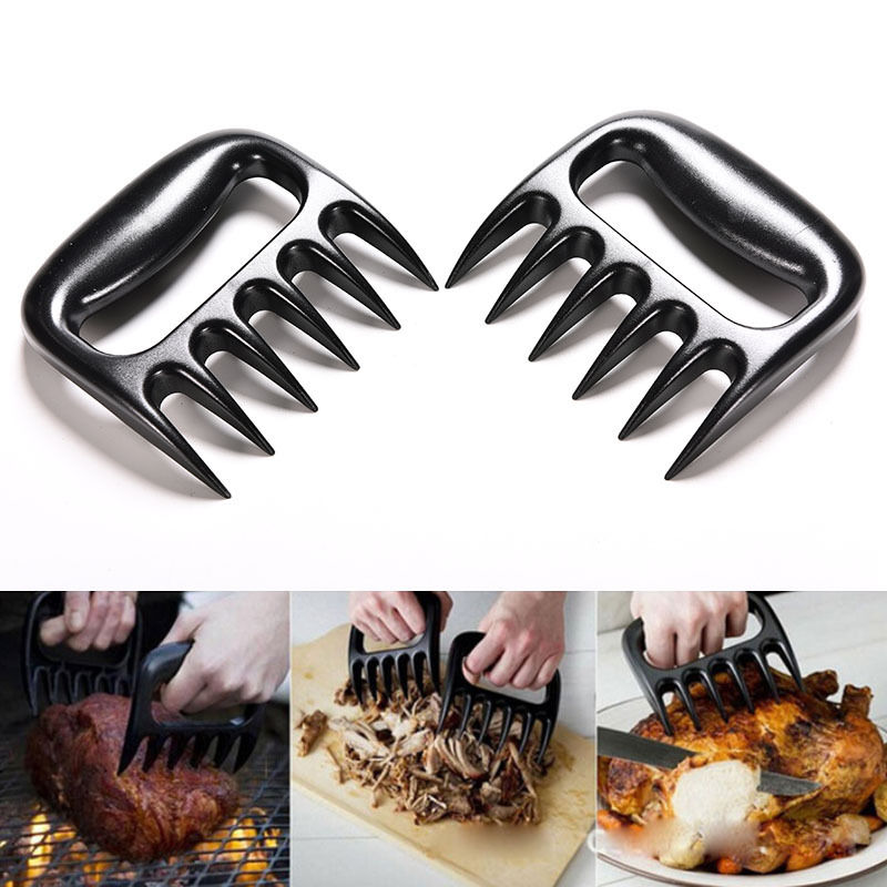 2pc/Pair Black Grizzly Bear Paws Claws Meat Handler Fork Tongs Lift Shred Pork BBQ Barbecue Tool Kitchen Tools