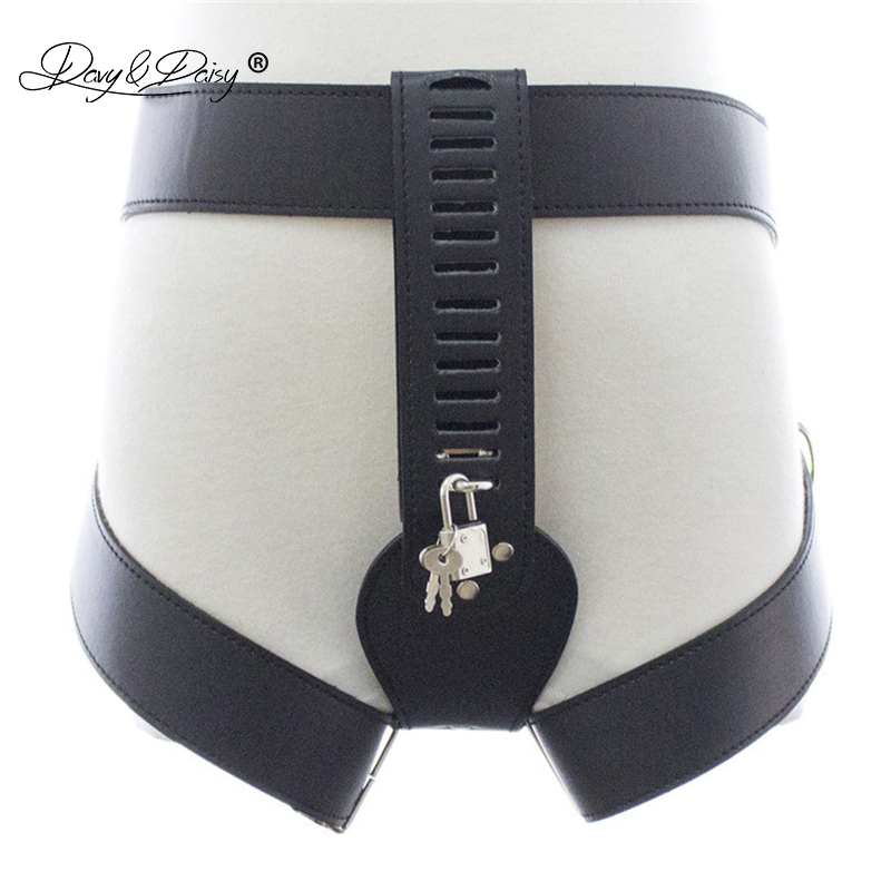 DAVYDAISY Women Chastity Belt Lock Shorts Sexy Panties PU Leather Thongs Sexy Lingerie Exotic Briefs Female Underwear UN520