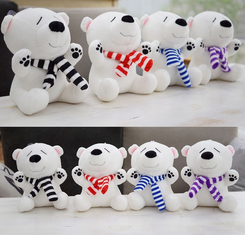 Candice guo plush toy stuffed doll cartoon animal white polar bear ted teddy dress stripe scarf baby birthday gift present 1pc  fancytrader seal plush baby doll large stuffed cartoon animal arctic seal toy white bear kids gift pillow 39inches 100cm