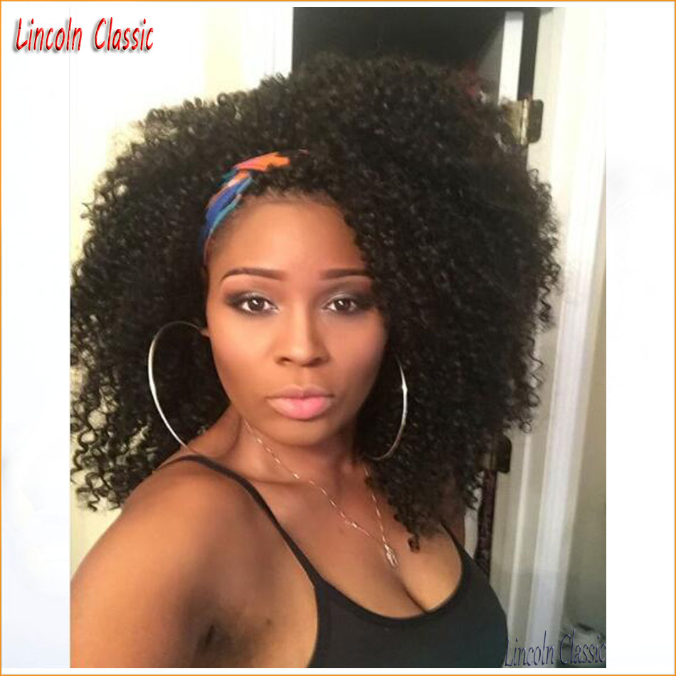 2016 New Natural Short Afro Kinky Curly Wig Lace Front Mongolian Virgin Human font b Hair