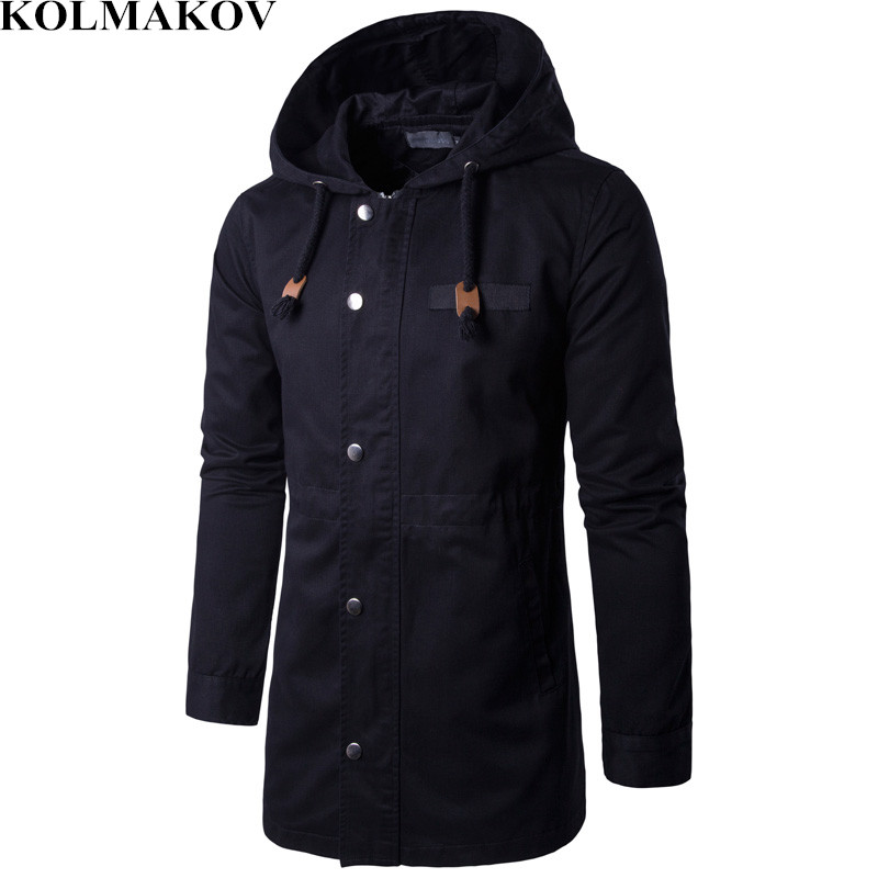 KOLMAKOV Men's Clothing New Mens Trench Coats Classic Mans Hooded Cargo Coats Men M-4XL Windbreaker Homme Spring Overcoats Man
