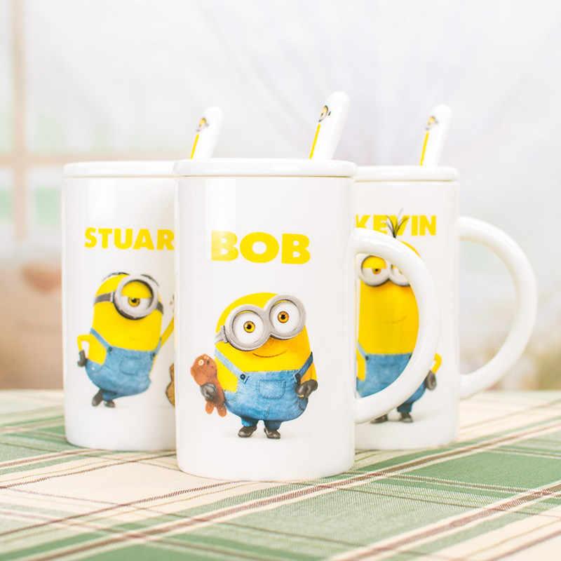 Marcador de copo e colher para café, copo de café criativo da moda despicável, com capa e colher minions, água de cerâmica, 1 peça, 390ml copo de leite chá