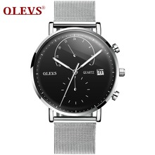 цена на Brand Luxury Quartz watch men Business Casual Black Japan quartz-watch genuine leather ultra thin clock male New A single price