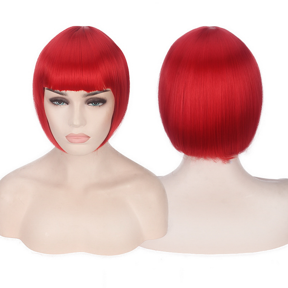 Anime Short Cosplay Wig Costume Synthetic Hair Pink Blonde Auburn Grey Green Red Blue White Black Short Bob Wigs For Women