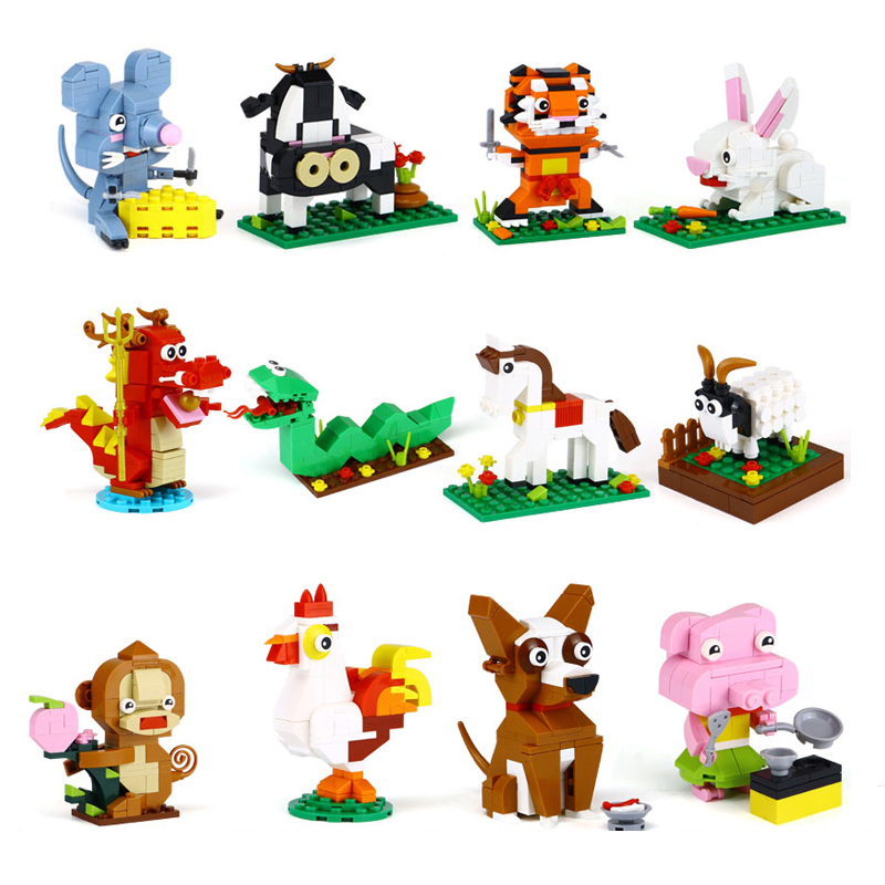 1155Pcs The 12 Chinese Zodiacs Animals Model Building Blocks Bricks Compatible Legoings Classic DIY Educational Toys Kids Gift