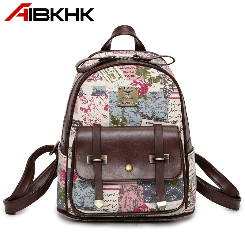 AIBKHK Fashion PU Leather Women Backpack Cartoon Starfish Pattern Oval Small Bagpack Korean Style Casual Press Button School bag