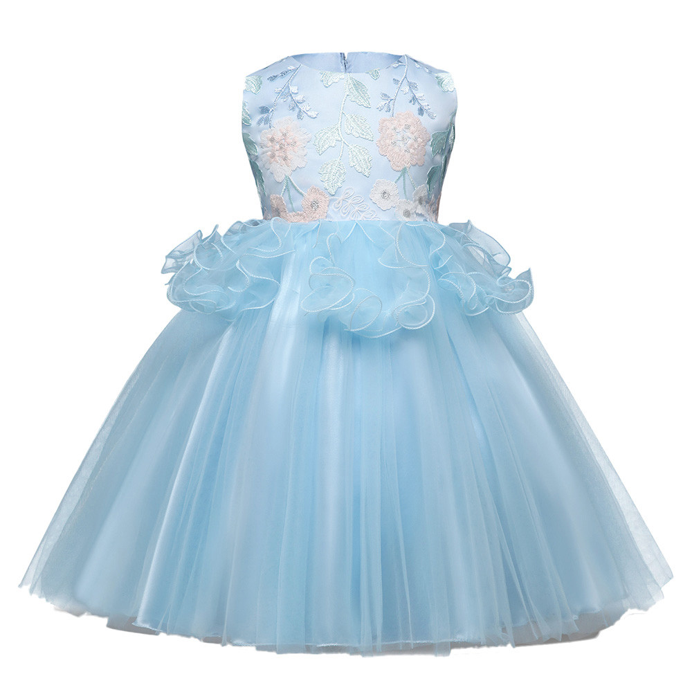 Summer childrens clothing Kids Baby Girls sleeveless Floral Print Bowknot Lace Princess Formal Dresses Kids clothes #xqx