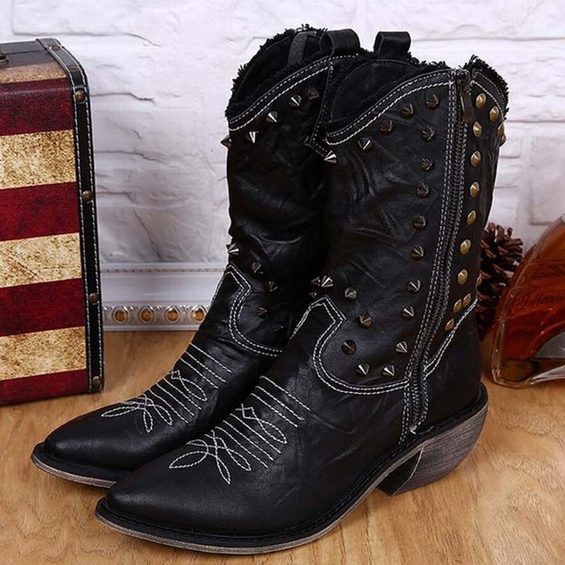 Mens Mid Calf Boots Fashion Pointed Toe Trend Genuine Leather Boots Vintage High Top Shoes Motorcycle Rivets Boots High Heels plus size 2016 new fashion genuine leather formal brand man mid calf boots men s winter pointed toe rivets cowboy shoes fpt451