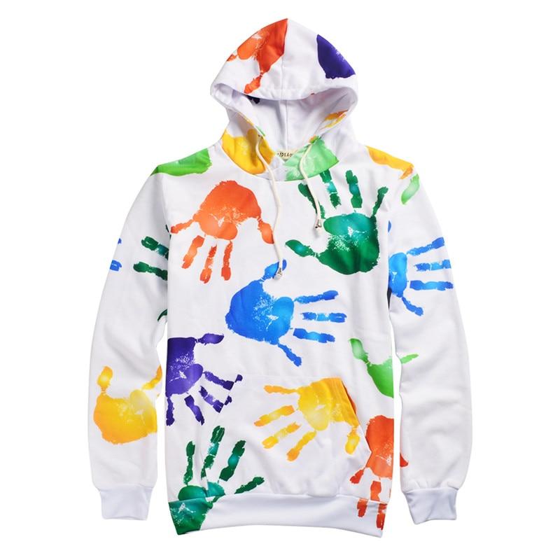Sweatshirt Hot Women Hoodies Harajuku Style Sweatshirts 3D Pullovers funny rainbow hand fitness Sportswear Tracksuits HD54