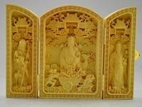 Exquisite Chinese Decorated Boxwood God Of Wealth Statue Amulet Auspicious Folding Box