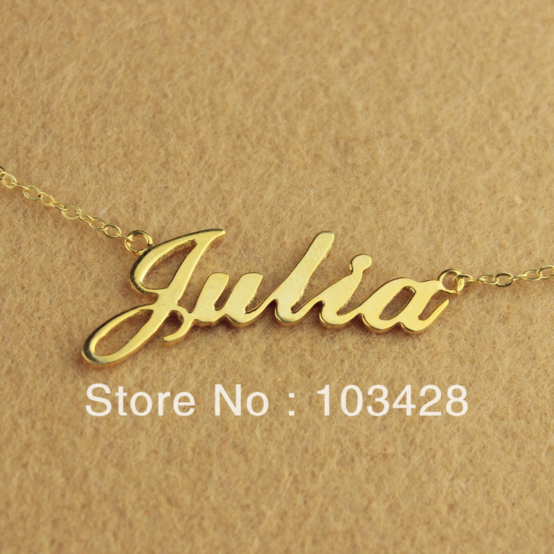 Freeshipping--Nameplate Necklace JULIA Style Gold Color Over Silver Name Necklace Initial Necklace Personalized Jewelry