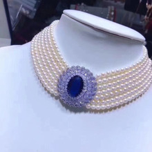 WKOUD, ювелирные изделия из жемчуга, жемчужное ожерелье-чокер для женщин, 7 слоев, стиль принцессы, благородный и элегантный