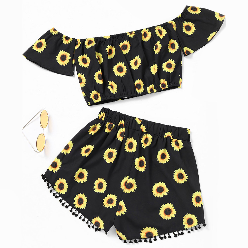 0ca19de8632b6c ZAFUL Women Two Pieces Set Sexy Off Shoulder Sunflower Printed Cropped Tops  Elastic Waist Shorts Sets Casual Summer Floral Set