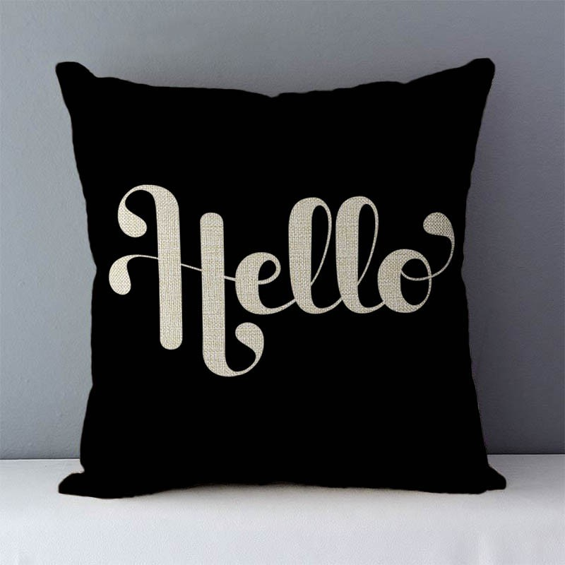 """Popular phrase words letters printed couch cushion home decorative pillows 45x45cm cotton linen square cushions """"Love you more"""""""