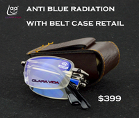 CLARA VIDA CLAMP CLIP ON BELT EASY CARRY FOLDABLE ANTIBLUE RAY READING GLASSES 1 1 5
