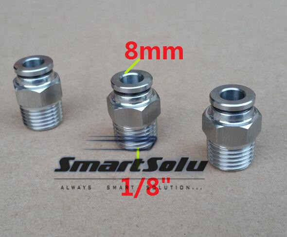 Free shipping 10pcs/lot 8MM Tube Size 1/8 Thread stainless steel push-in fitting Threaded pipe fittings pneumatic fittings high quality2x1x2 female tee threaded reducer pipe fittings f f f stainless steel ss304 new