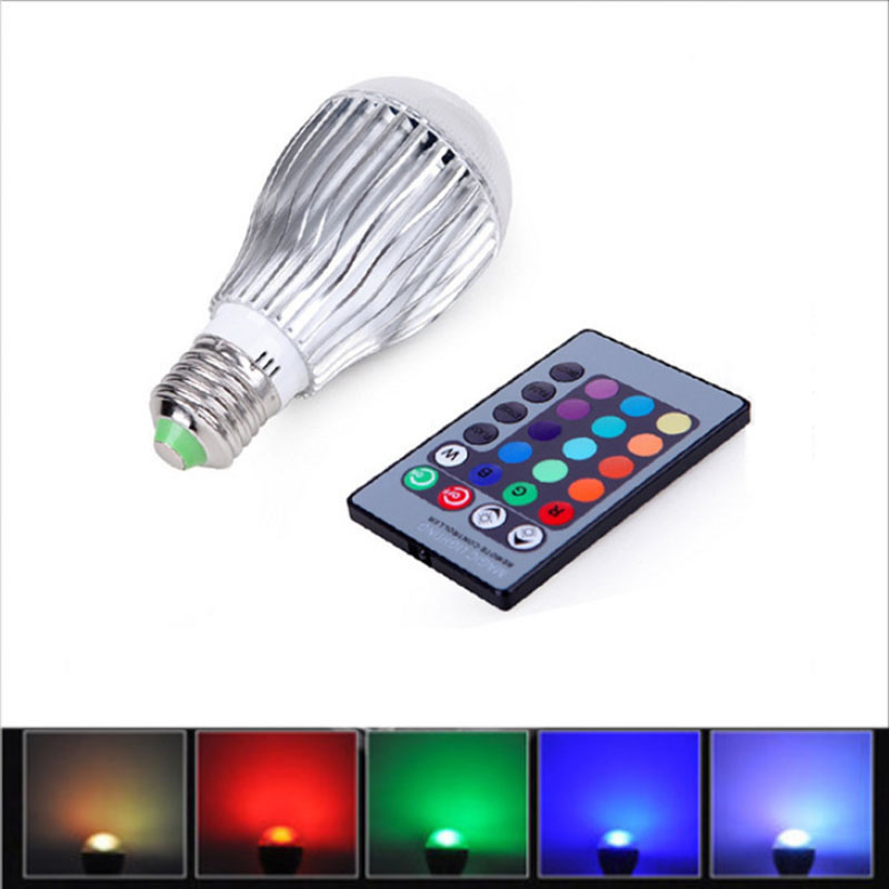 SPLEVISI E27 9W RGB LED Lamp Light Bulb Color Changing W/ IR Remote Control Multi Color keyshare dual bulb night vision led light kit for remote control drones