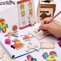 Cutebee En Bois Jouets pour Enfants Montessori Jouet Puzzle Cube Éducatifs Peinture Dessin Autocollant pour Enfants Bébé Jouets