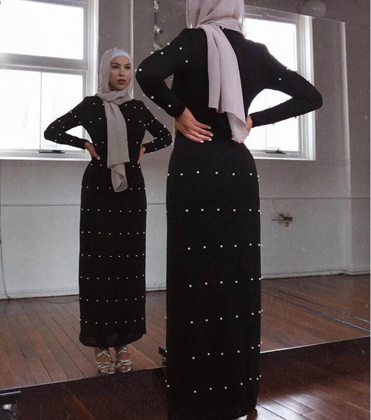 Stretch Elegant Adult Muslim Black Abaya Elastic Fabric Beading Long Dress Dubai Muslims Women Dresses Islamic Dress 8002