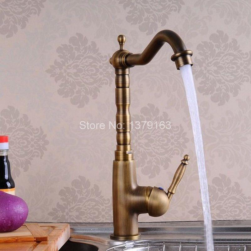 Antique Brass Single Handle Swivel Kitchen Bathroom Sink Basin Faucet Mixer Taps anf005