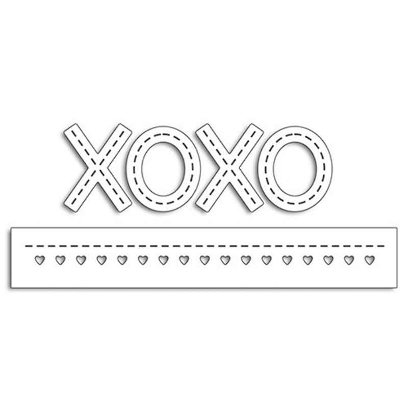 XO sembolü ve kalp kenar sınır Metal kesme ölür için şablonlar Scrapbooking kabartma kalıp kartları yapma kağıt zanaat yeni 2019