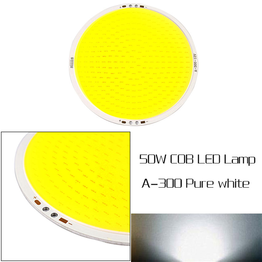 DC 12V 50W High Power 5000LM Ultra Bright 11cm Round COB LED Chip On Board Lamp Pure White Light for DIY 2pcs lot us cree cxa 3070 beads 117w high power led chip 2700 3000k 5000 6500k pure white warm white