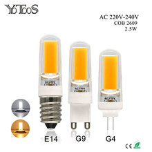 YOTOOS G4 G9 E14 LED Bulb COB Led Lamp AC 220V Warm White 360 Beam Angle Spotlight Bulb Chandelier Lights Replace Halogen Lamps