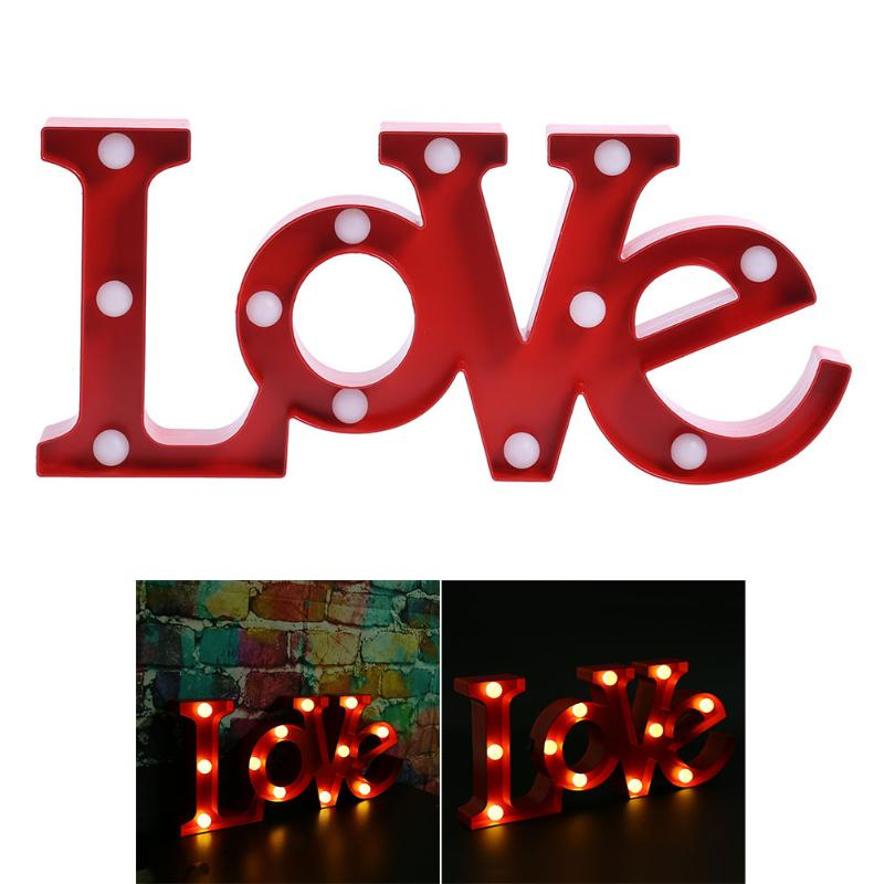 3D LOVE Shape Letter LED Night Light Romantic Wedding Party Decoration Wall Lamps White Table Lamp with Battery High Quality convenience wedding tree with one inkpad fingerprint signature guest book diy wedding party canvas painting high quality