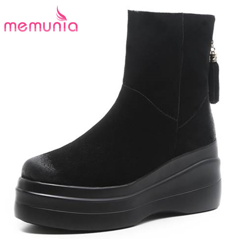 MEMUNIA 2018 HOT fashion round toe wedges ankle boots for women platform cow suede leather snow boots zipper winter bootsMEMUNIA 2018 HOT fashion round toe wedges ankle boots for women platform cow suede leather snow boots zipper winter boots