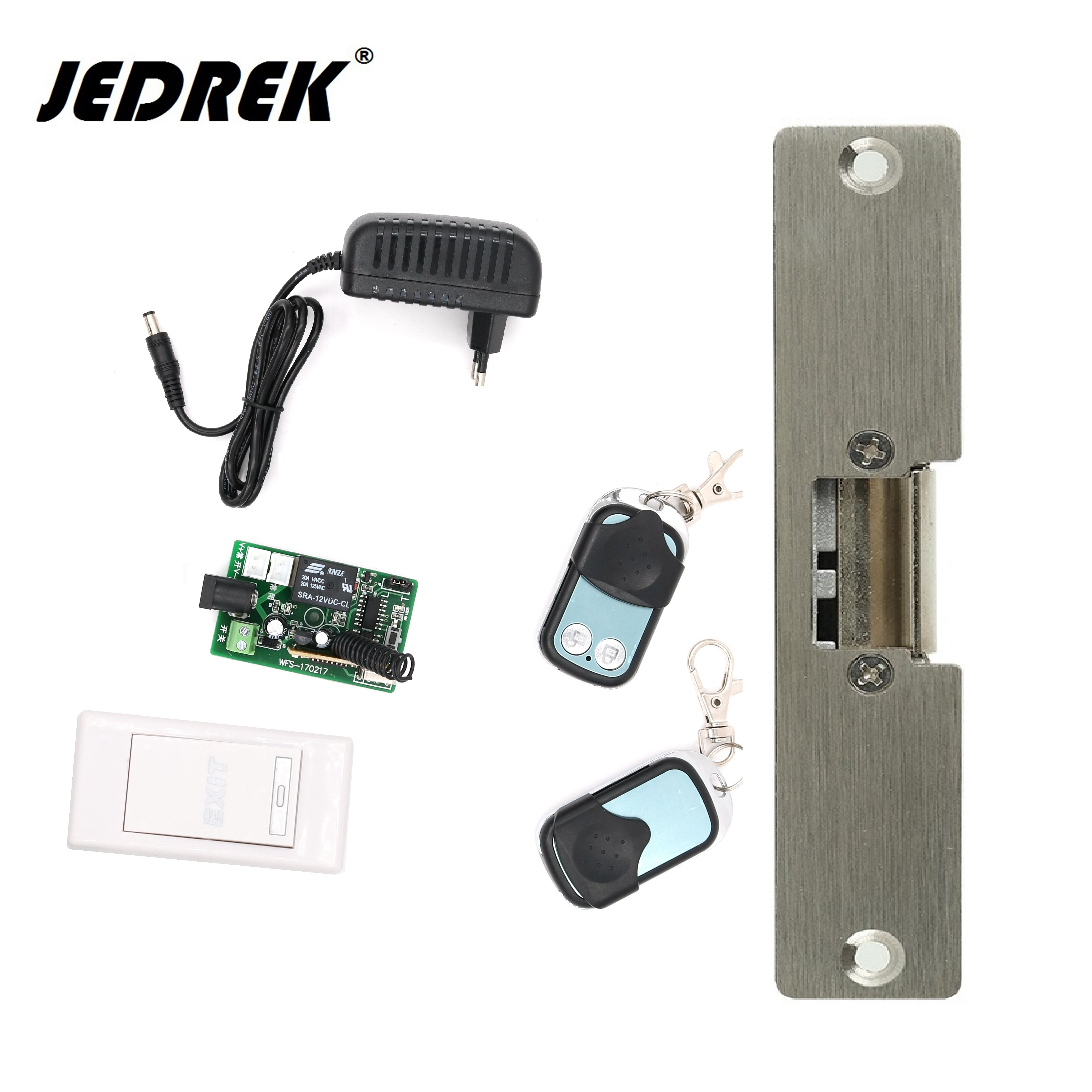 12V 315mhz Remote Control Electric strikes with two remote handle exit button full kit Fail safe/fail scure 315mhz fail secure remote control electric strikes remote electric lock 2 remote handle