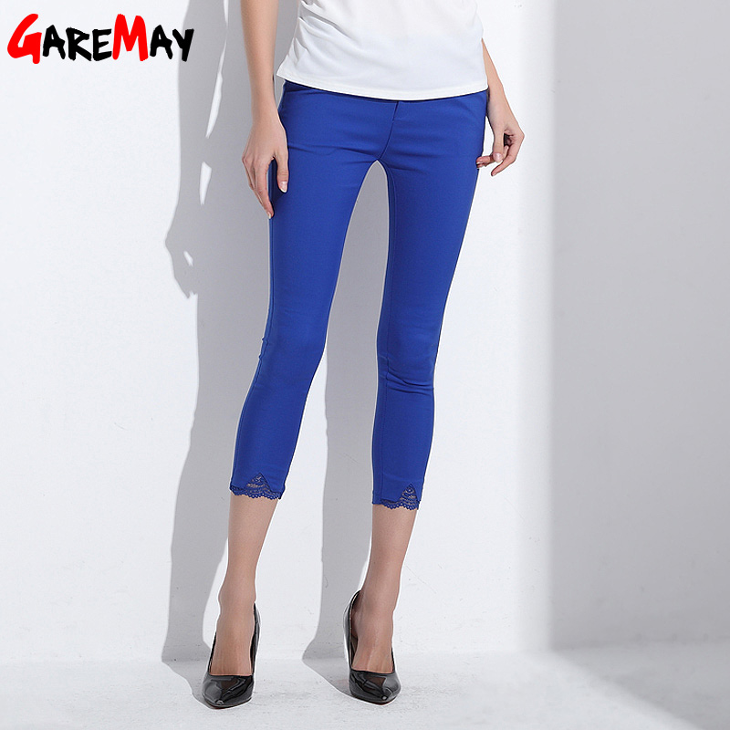 Female   Pants     Capri   Lace Pantalon Femme 2018 White Skinny Pencil   Pants   Plus Size Elastic Ladies Work   Pants   Candy   Capri   GAREMAY