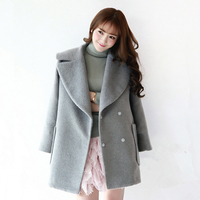 Winter Female Sweet Cotton padded Warm Coat 2019 New Fashion Turn down Collar Covered Button Thick Women Wool Jacket Overcoat