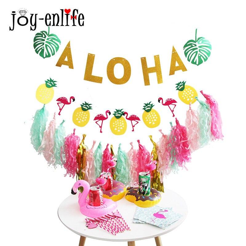 Joy Enlife 1 Set Aloha Beach Party Banner Papier Kwasten Slinger