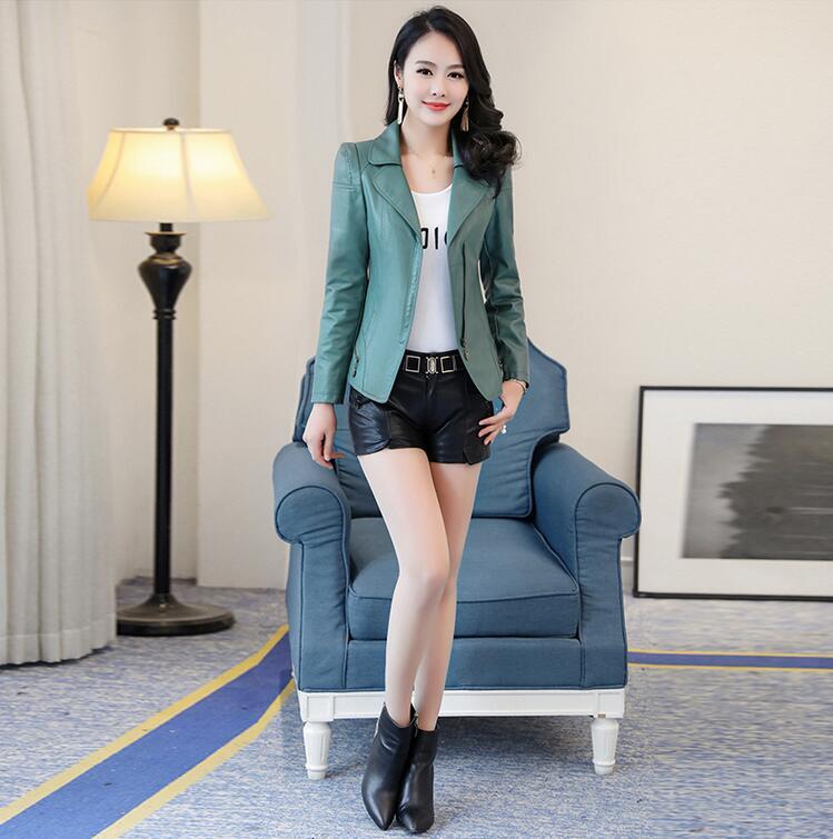 Et Mode Vestes Col rouge De Pu Automne Veste vert Court Costume Vêtements Mince Manteau Femmes 2018 Noir En Coréenne Cuir Printemps Nouvelle 5Bva4