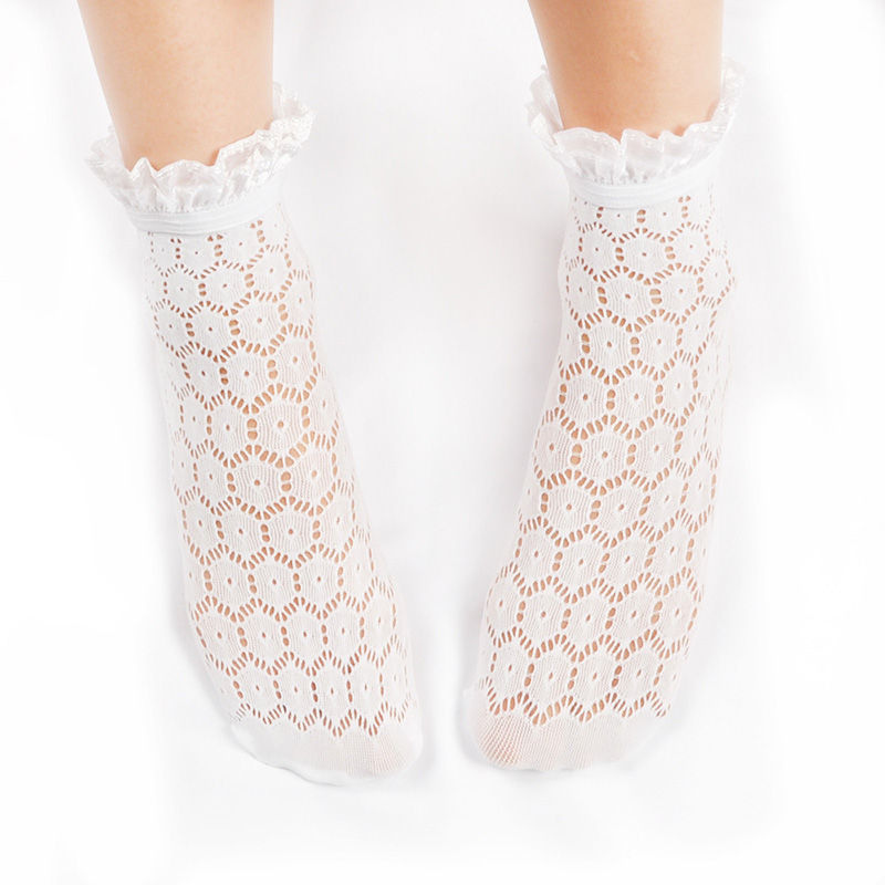 HTB1oMv X.WF3KVjSZPhq6xclXXaB - Fashion White Lace Socks For Women Transparent Short Socks Ankle Lady Sexy Harajuku Fishnet Socks Female Dress Hosiery Socks