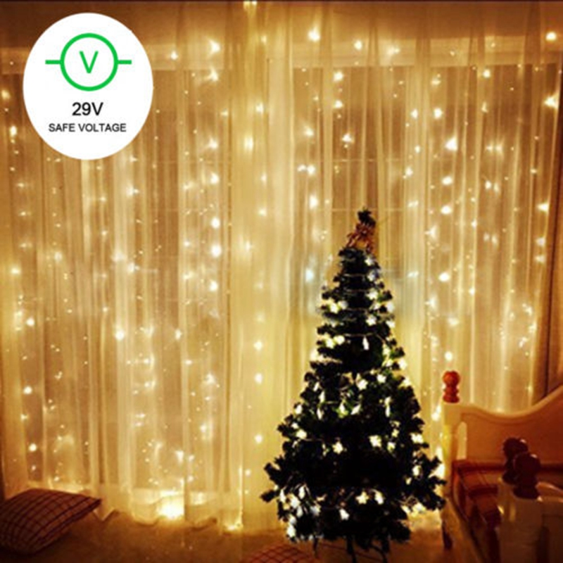 Hot 300 led 3x3m string fairy lights indoor outdoor curtain christmas party holiday diy decorations decorative light string xmas in curtains from home